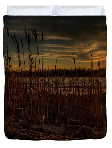Cold Winter Sunset Duvet Cover