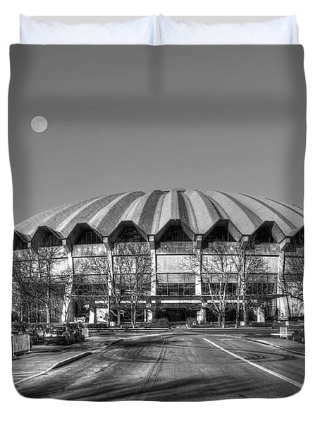 Coliseum B W With Moon Duvet Cover