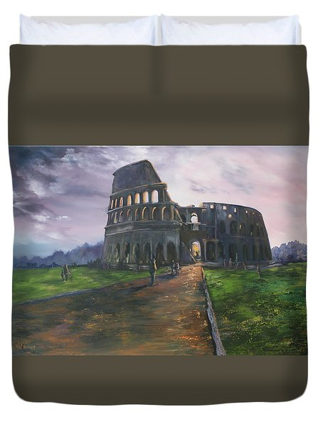 Duvet Cover featuring the painting Coliseum Rome by Jean Walker