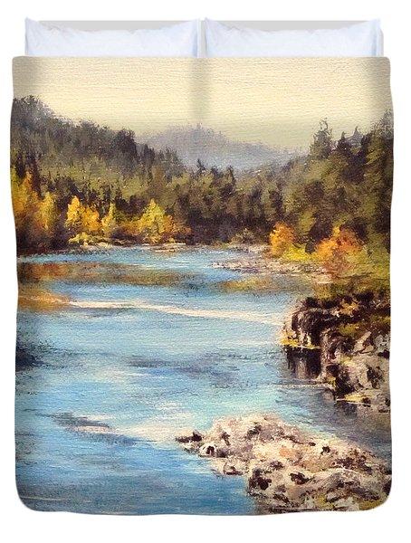 Colliding Rivers Fall Duvet Cover by Karen Ilari