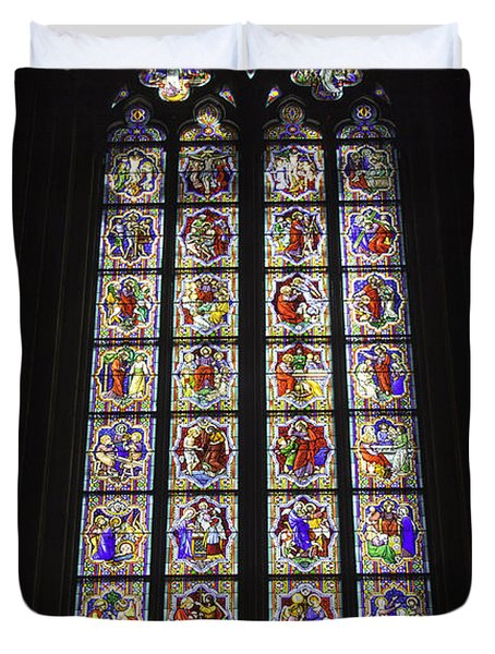 Cologne Cathedral Stained Glass Life Of Christ Duvet Cover