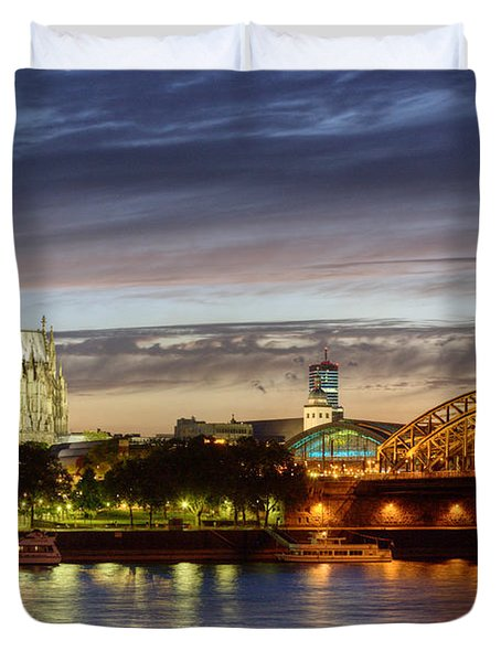Cologne Cathedral With Rhine Riverside Duvet Cover
