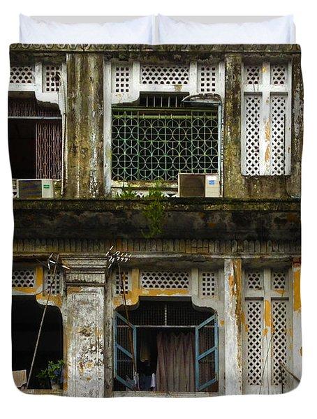 Colonial Facade Bo Soon Pat Street 8th Ward Central Yangon Burma Duvet Cover