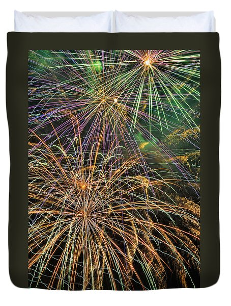 Duvet Cover featuring the photograph Color Bursts In The Sky by Kenny Francis