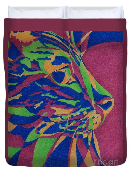Duvet Cover featuring the painting Color Cat I by Pamela Clements