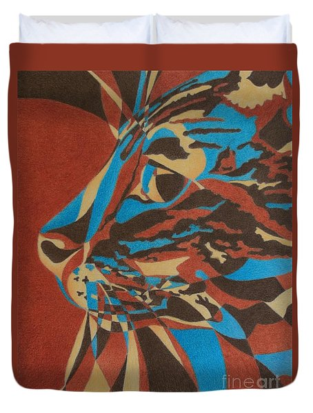 Duvet Cover featuring the painting Color Cat II by Pamela Clements