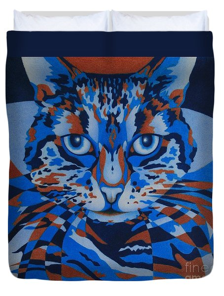 Duvet Cover featuring the painting Color Cat IIi by Pamela Clements