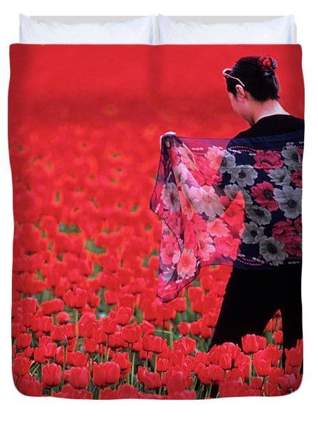 Color Me Tulip Duvet Cover by Bob Christopher