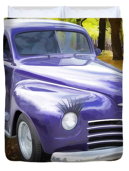 Color Painting Of A Complete 1948 Plymouth Classic Car 3389.02 Duvet Cover