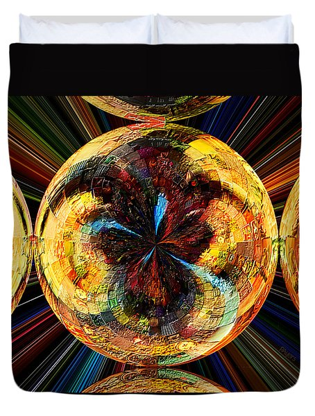 Duvet Cover featuring the painting Color Power Collage by Paula Ayers