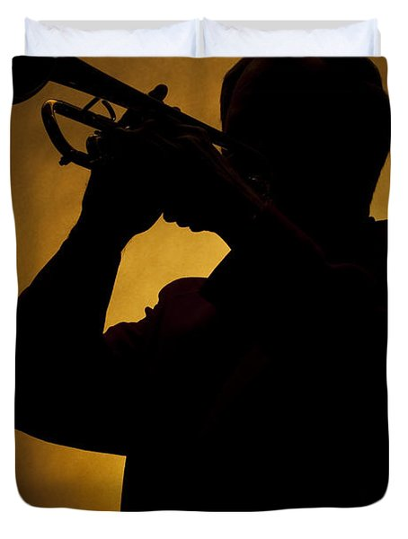 Color Silhouette Of Trumpet Player 3019.02 Duvet Cover by M K  Miller