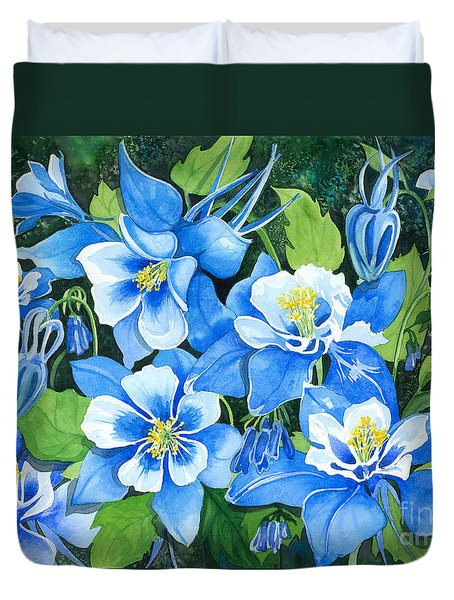 Colorado Columbines Duvet Cover by Barbara Jewell