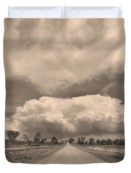 Colorado Country Road Sepia Stormin Skies Duvet Cover by James BO  Insogna