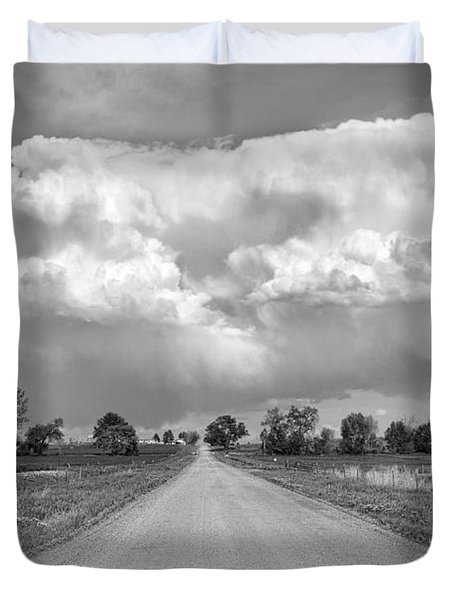 Colorado Country Road Stormin Bw Skies Duvet Cover by James BO  Insogna