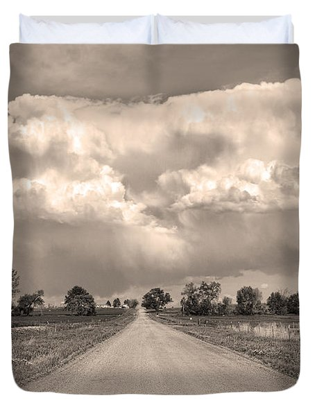 Colorado Country Road Stormin Sepia  Skies Duvet Cover by James BO  Insogna
