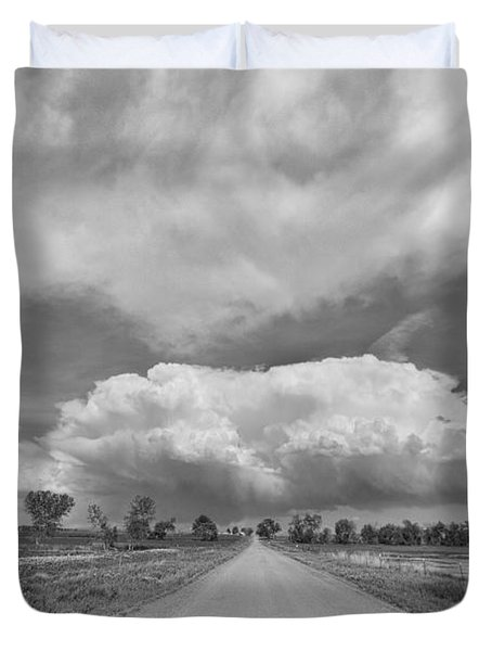 Colorado Country Road Stormin Skies Bw Duvet Cover by James BO  Insogna