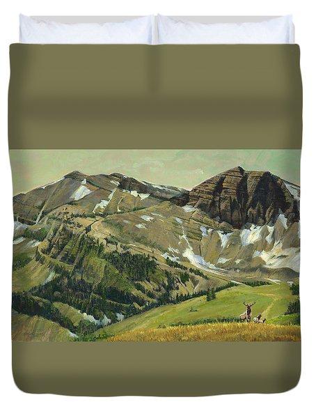 Elk Crossing Wyoming Mountains Duvet Cover