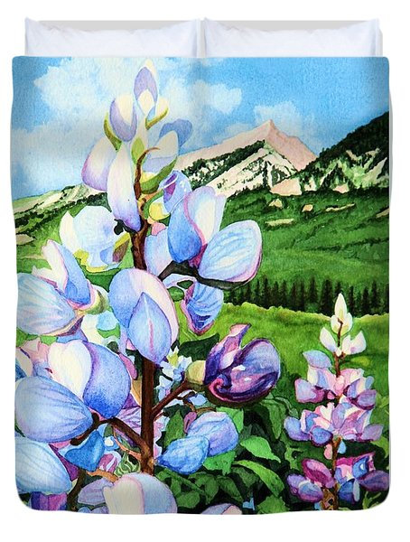 Duvet Cover featuring the painting Colorado Summer Blues Close-up by Barbara Jewell