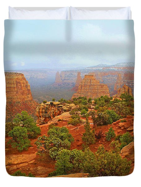 Colorado Natl Monument Snow Coming Down The Canyon Duvet Cover