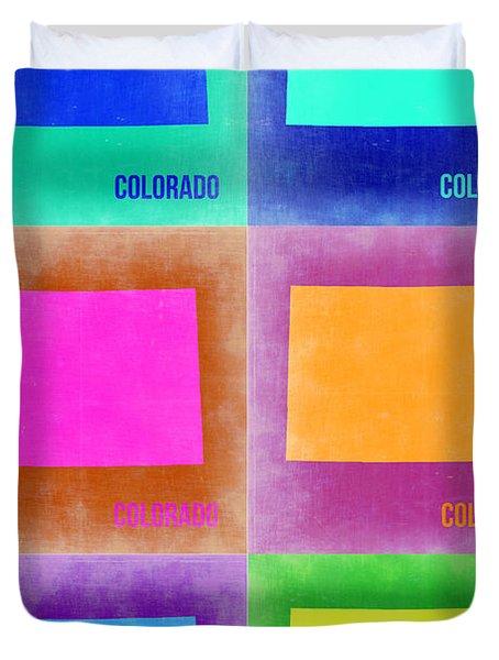 Colorado Pop Art Map 3 Duvet Cover