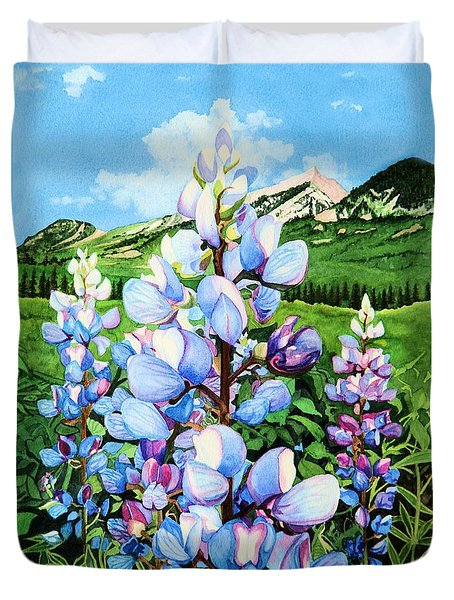 Duvet Cover featuring the painting Colorado Summer Blues by Barbara Jewell