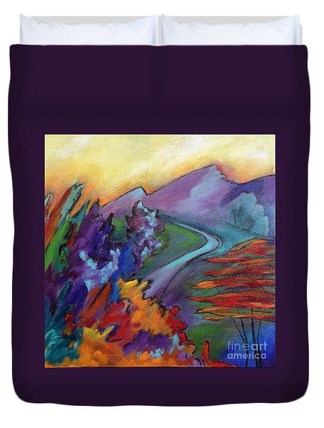 Duvet Cover featuring the painting Colordance by Elizabeth Fontaine-Barr
