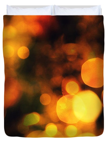Duvet Cover featuring the digital art Coloured Bokeh Lights by Fine Art By Andrew David