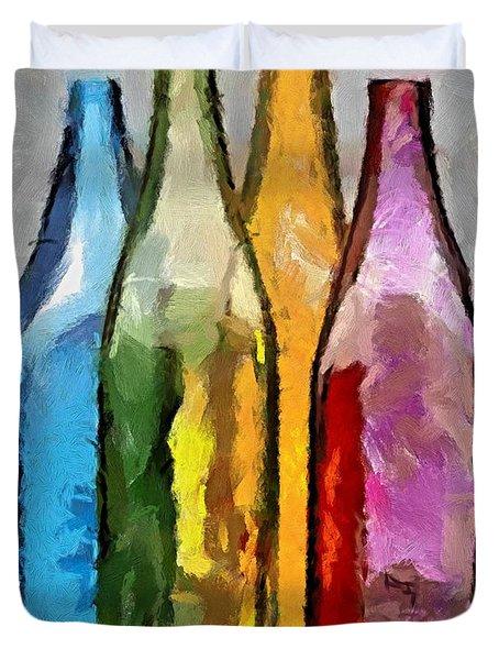 Colored Glass Bottles Duvet Cover