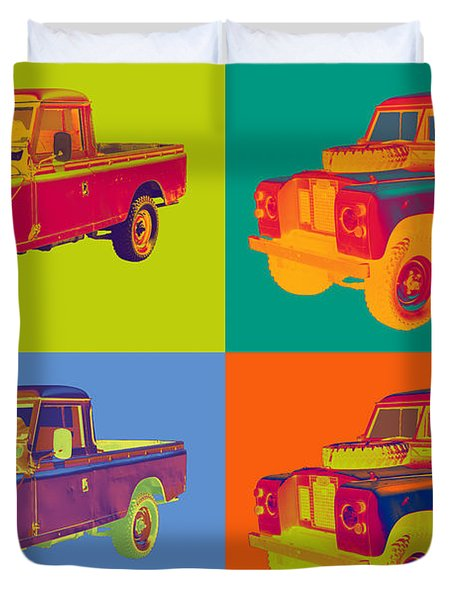 Colorful 1971 Land Rover Pick Up Truck Pop Art Duvet Cover by Keith Webber Jr