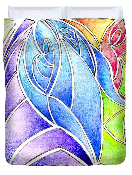 Colorful Abstract Drawing Duvet Cover by Minding My  Visions by Adri and Ray