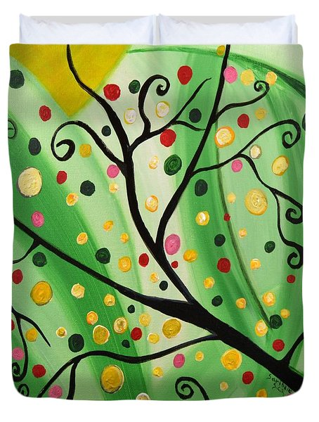 Colorful Abstract Tree Acrylic Painting Art  By Saribelle Rodriguez Duvet Cover by Saribelle Rodriguez
