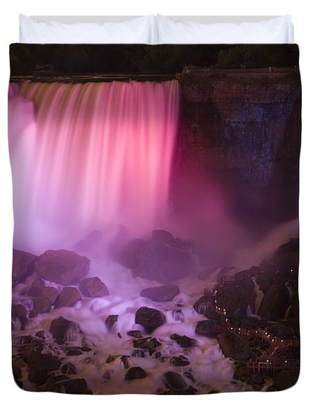 Colorful American Falls Duvet Cover by Adam Romanowicz