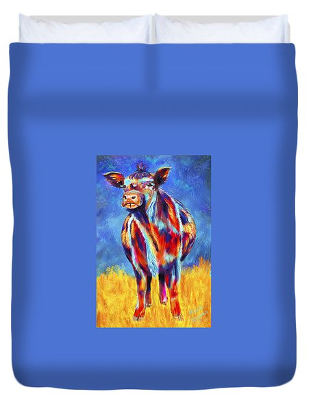 Colorful Angus Cow Duvet Cover by Michelle Wrighton