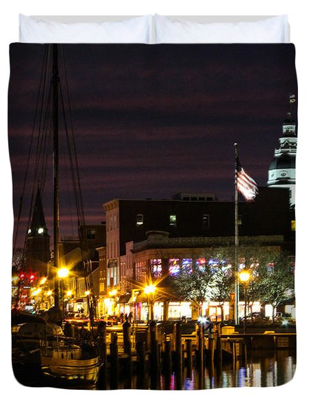 Colorful Annapolis Evening Duvet Cover