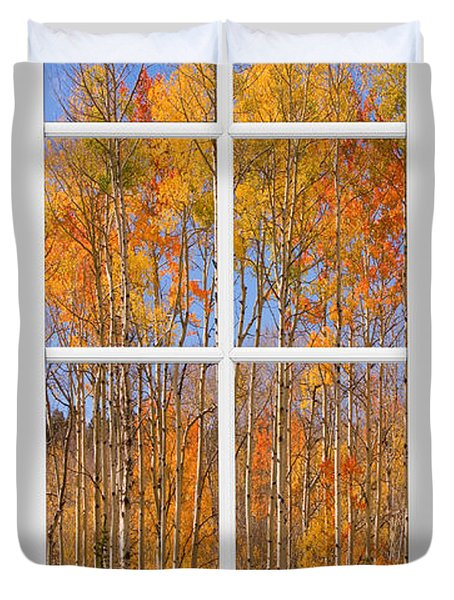 Colorful Aspen Tree View White Window Duvet Cover by James BO  Insogna