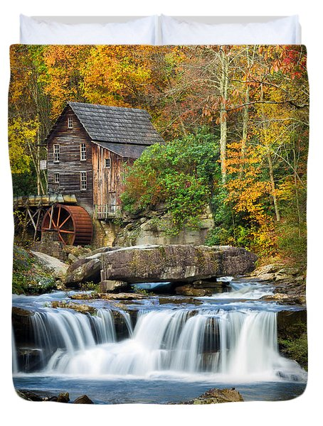 Colorful Autumn Grist Mill Duvet Cover