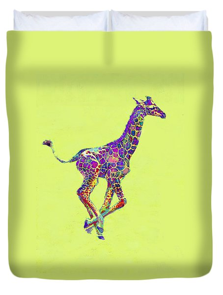 Colorful Baby Giraffe Duvet Cover by Jane Schnetlage