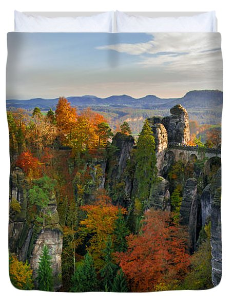 Colorful Bastei Bridge In The Saxon Switzerland Duvet Cover