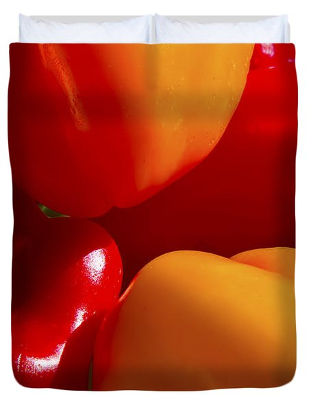 Duvet Cover featuring the photograph Colorful Bells by Gary Holmes