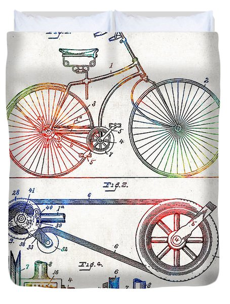 Colorful Bike Art - Vintage Patent - By Sharon Cummings Duvet Cover