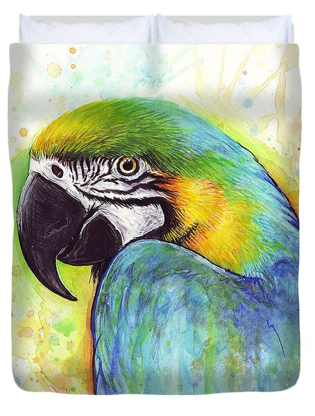 Macaw Watercolor Duvet Cover