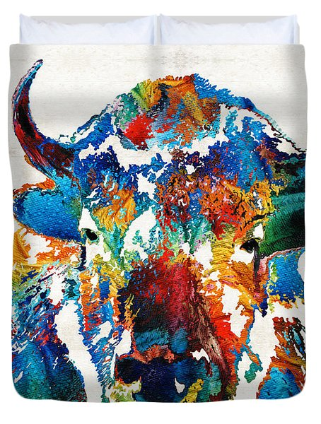 Colorful Buffalo Art - Sacred - By Sharon Cummings Duvet Cover