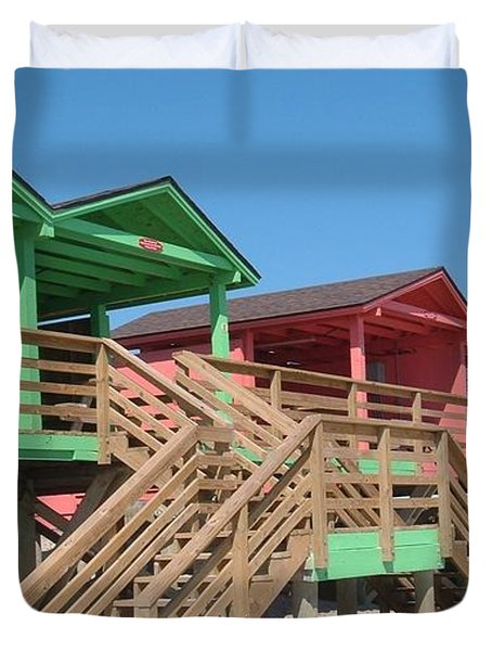 Colorful Cabanas Duvet Cover by Caryl J Bohn