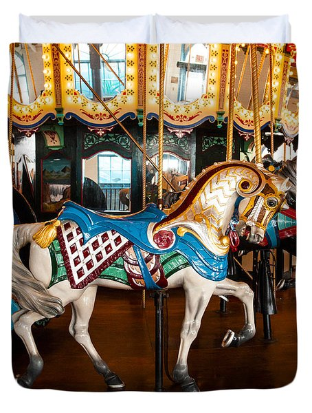 Duvet Cover featuring the photograph Colorful Carousel Horse by Jerry Cowart