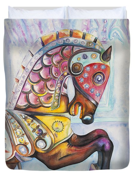 Colorful Carousel Horse  Duvet Cover by Patty Vicknair