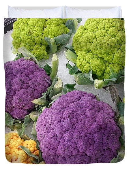 Duvet Cover featuring the photograph Colorful Cauliflower by Caryl J Bohn
