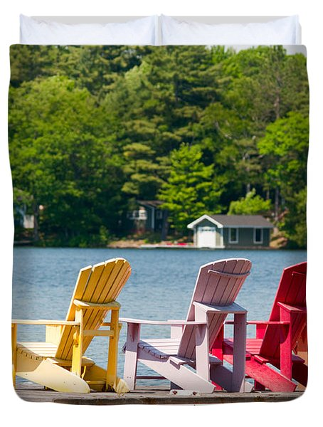 Duvet Cover featuring the photograph Colorful Chairs by Les Palenik