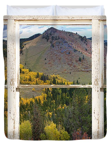 Colorful Colorado Rustic Window View Duvet Cover