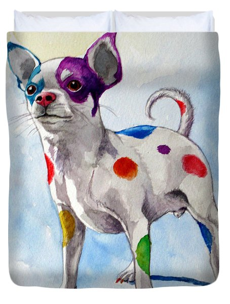 Colorful Dalmatian Chihuahua Duvet Cover