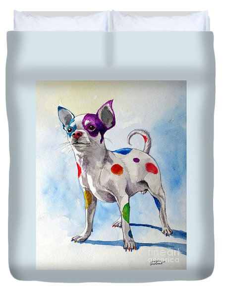 Colorful Dalmatian Chihuahua Duvet Cover by Christopher Shellhammer
